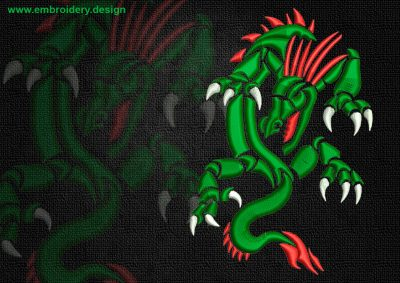 This Serpentine celtic dragon design was digitized and embroidered by www.embroidery.design.