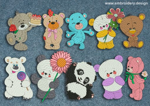 This Collection of bears design was digitized and embroidered by www.embroidery.design.