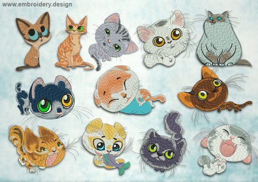 This Collection of cats design was digitized and embroidered by www.embroidery.design.