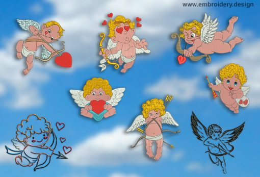 This Collection of Cupids design was digitized and embroidered by www.embroidery.design.