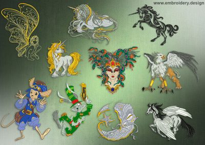 This Fantasy Collection design was digitized and embroidered by www.embroidery.design.