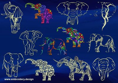 The pack of embroidery design Set of elephants