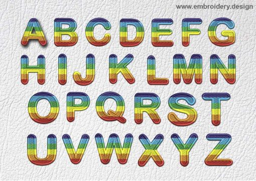 This Patch Rainbow Font All English Letters design was digitized and embroidered by www.embroidery.design.