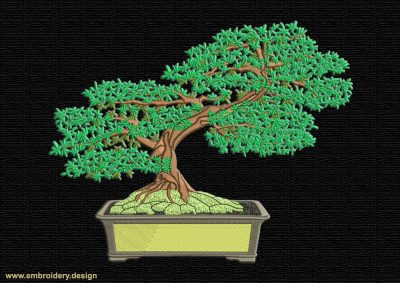 This Shakkanho Oak bonsai design was digitized and embroidered by www.embroidery.design.