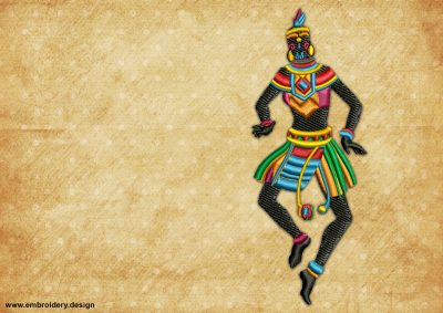 The embroidery design Shaman dance depicts a young female warrior of the African tribe