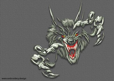 The embroidery design Sharp-clawed wolf was created in three sizes  by  EmbroSoft team.