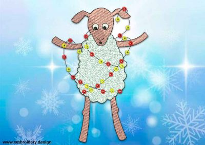 This Sheep with garland design was digitized and embroidered by www.embroidery.design.
