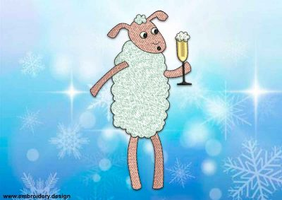 This Sheep with wineglass design was digitized and embroidered by www.embroidery.design.