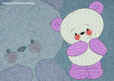 This Shy bear cub design was digitized and embroidered by www.embroidery.design.