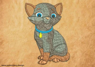 This Siamese kitten design was digitized and embroidered by www.embroidery.design.