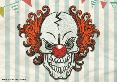 The embroidery design Sinister Clown was created using satin and tatami stitching elements.