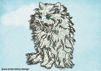 This Sitting fluffy cat design was digitized and embroidered by www.embroidery.design.