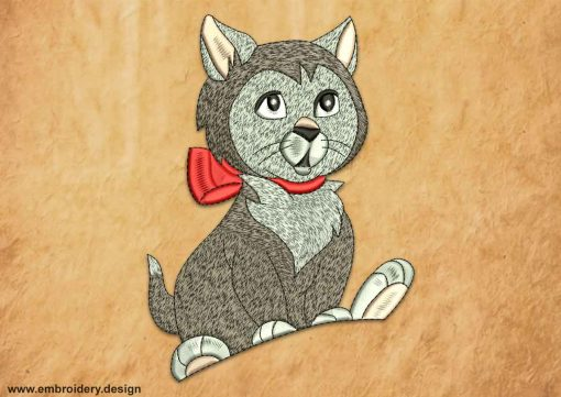 This Sitting gray cat design was digitized and embroidered by www.embroidery.design.