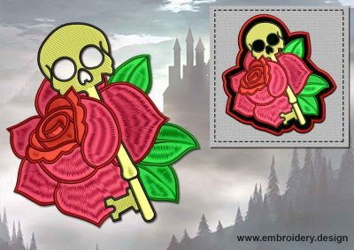 This Skull-key with rose + embroidery design of patch design was digitized and embroidered by www.embroidery.design.