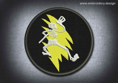 This Skull Patch Lightning And Skeleton design was digitized and embroidered by www.embroidery.design.
