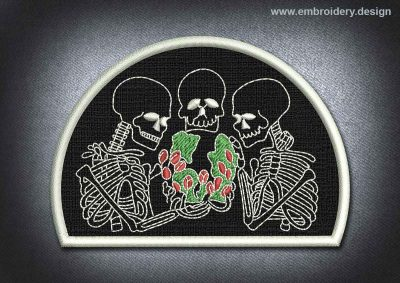 This Skull Patch Meeting Of Skeletons design was digitized and embroidered by www.embroidery.design.