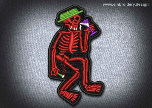 This Skull Patch Red Skeleton At The Party design was digitized and embroidered by www.embroidery.design.