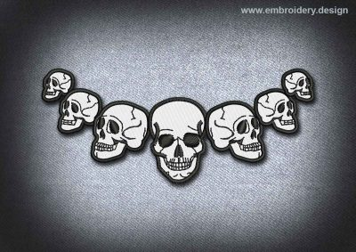 This Skull Patch The Semicircle Of Skulls design was digitized and embroidered by www.embroidery.design.