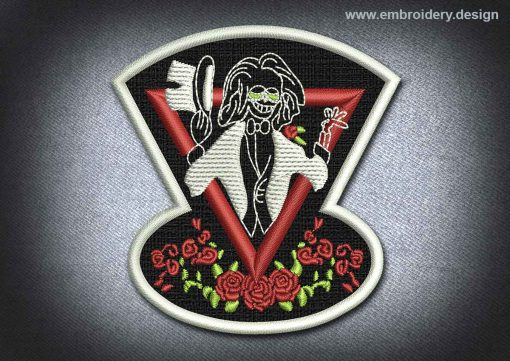 This Skull Patch Showman Skeleton design was digitized and embroidered by www.embroidery.design.