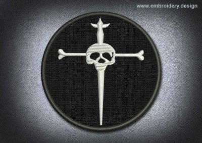 This Skull Patch Silver Cross With Skull On Black Background design was digitized and embroidered by www.embroidery.design.
