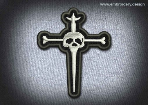 This Skull Patch Silver Cross With Skull design was digitized and embroidered by www.embroidery.design.