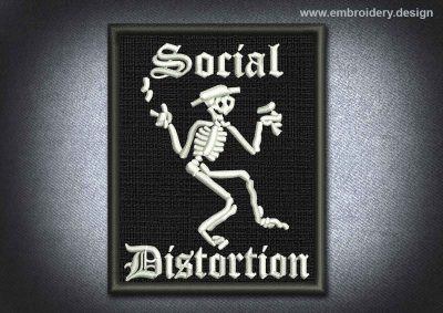 This Skull Patch Social Distortion design was digitized and embroidered by www.embroidery.design.