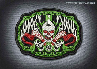 This Skull Patch Speed Freak design was digitized and embroidered by www.embroidery.design.