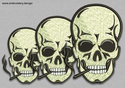 The embroidery design Skull with cigarette