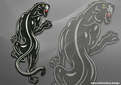 This Slinking panther design was digitized and embroidered by www.embroidery.design.