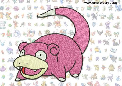 This Slowpoke Pokemon design was digitized and embroidered by www.embroidery.design.