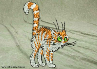 This Sly kitten design was digitized and embroidered by www.embroidery.design.