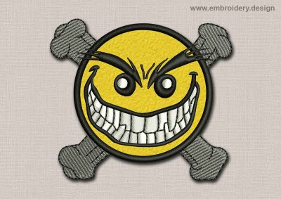This Smile Patch Malicious Smile With Crossbones design was digitized and embroidered by www.embroidery.design.