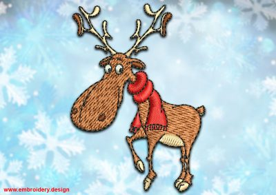 This Smiling deer in scarf design was digitized and embroidered by www.embroidery.design.