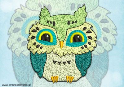 This Smiling owl design was digitized and embroidered by www.embroidery.design.