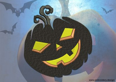 This Smiling pumpkin design was digitized and embroidered by www.embroidery.design.