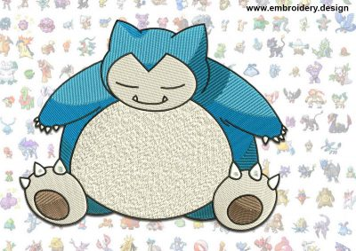 This Snorlax Pokemon design was digitized and embroidered by www.embroidery.design.