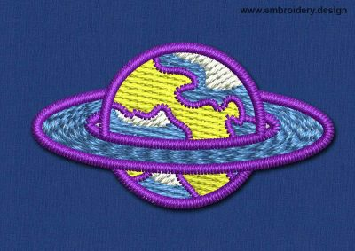 This Space Patch Purple Planet design was digitized and embroidered by www.embroidery.design.