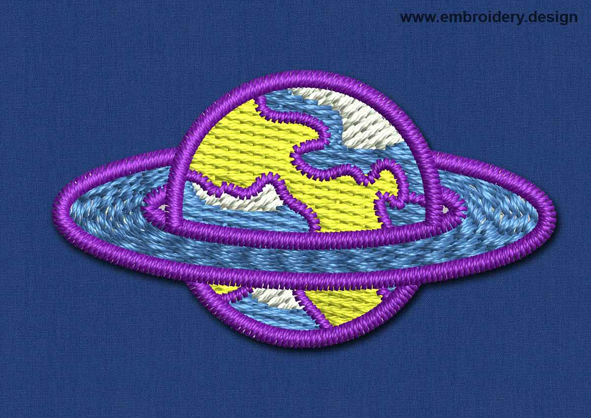 Design embroidery space patch purple planet by www for Space embroidery designs