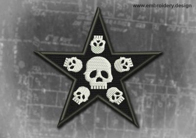 This Spiritual And Occult Patch Black Star With Skulls design was digitized and embroidered by www.embroidery.design.
