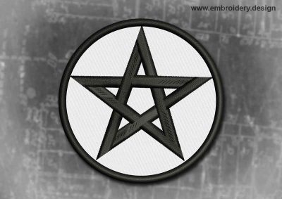 This Spiritual And Occult Patch Black And White Pentagram design was digitized and embroidered by www.embroidery.design.