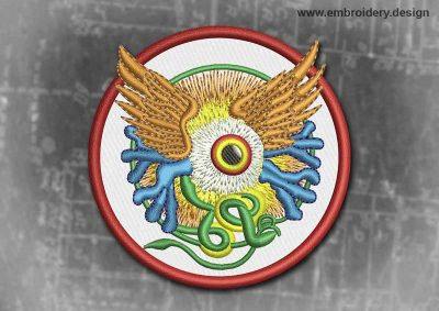 This Spiritual And Occult Patch Winged Eye In A Circle design was digitized and embroidered by www.embroidery.design.