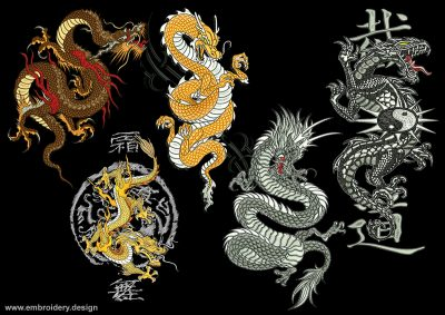 This Splendid dragon's pack design was digitized and embroidered by www.embroidery.design.
