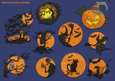 This Spooky halloween embroidery designs pack design was digitized and embroidered by www.embroidery.design.