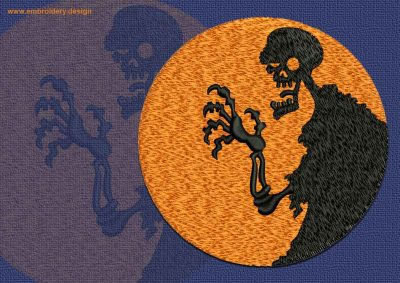 This Spooky Skeleton design was digitized and embroidered by www.embroidery.design.