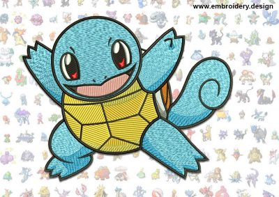 This Squirtle Pokemon design was digitized and embroidered by www.embroidery.design.