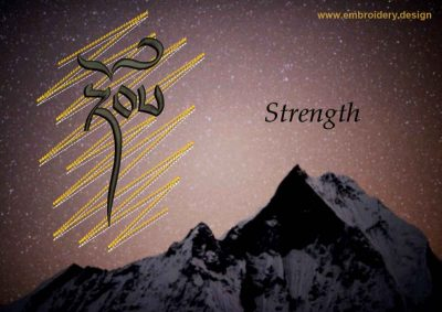 This Strength on gold background design was digitized and embroidered by www.embroidery.design.
