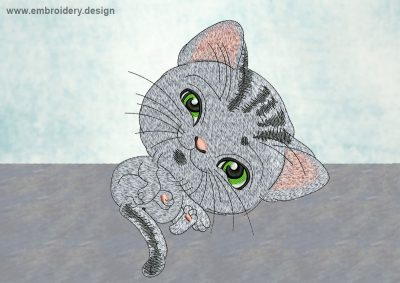 This Striped kitten design was digitized and embroidered by www.embroidery.design.