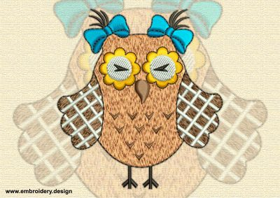This Stylish owl design was digitized and embroidered by www.embroidery.design.