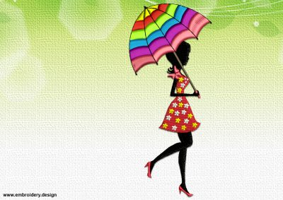 The embroidery design Summer girl with bright umbrella