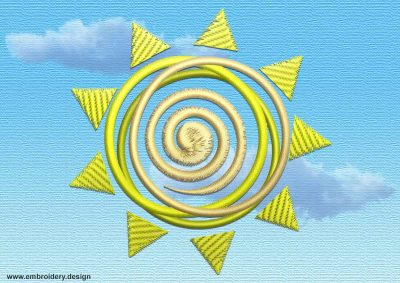This Sun with swirl in the middle design was digitized and embroidered by www.embroidery.design.